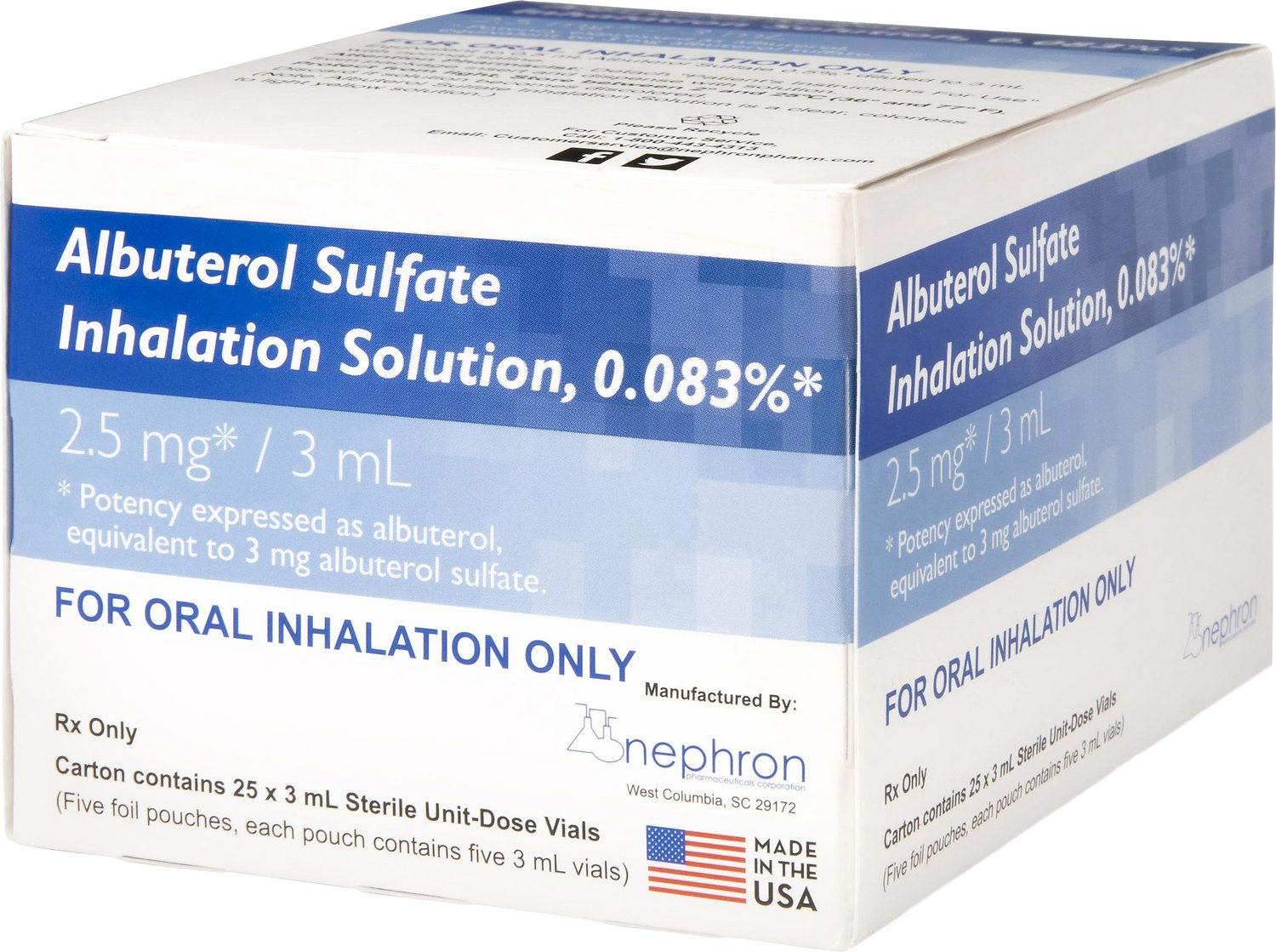 Albuterol 0 083 Generic Inhalation Solution 2 5 Mg 3 Ml 25 Count Chewy Com