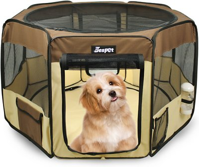 Marvelous Jespet Soft Sided Pet Playpen Brown 45 In Chewy Com Gmtry Best Dining Table And Chair Ideas Images Gmtryco