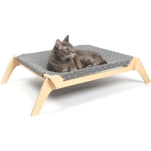 Primetime Petz Elevated Cat & Dog Bed With Reversible Fabric Hammock, Neutral Paint Spots/Crosses