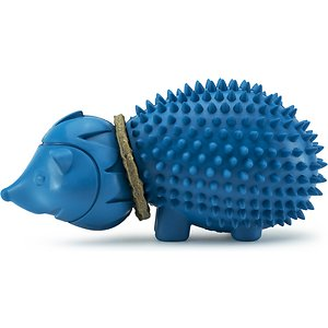 PetSafe Busy Buddy Hedgehog Treat Dispenser Dog Toy; The PetSafe Busy Buddy Hedgehog Dog Toy is perfect for your picky pooch looking for a tasty new toy to chew on. You can keep your best bud entertained with the included dog-liscious rawhide treat rings. Made with a locking mechanism to keep each of the 4 included treat rings in place, your pup can give the PetSafe Busy Buddy Hedgehog Dog Toy his all without you worrying about the treat rings breaking free from the toy. And when the rings have finally been chewed, you can stock up on more to keep your guy busy and continue to reward good chewing habits during his long playtime sessions.