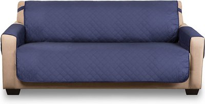 Wondrous Bone Dry Reversible Sofa Cover Navy Chewy Com Pabps2019 Chair Design Images Pabps2019Com