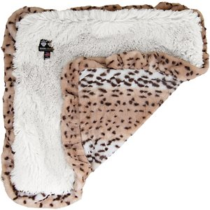 Bessie + Barnie Luxurious Ruffled Dog Blanket, Snow Leopard, Medium; The Bessie And Barnie Luxurious Ruffled Dog Blanket is simply the most stylish accessory to your dog's next slumber party. Whether you throw it across the couch, floor or car seat, this soft and cuddly blanket is sure to give her the most luxurious napping experience possible. It's made from high quality fabrics that are designed to be durable and prevent colors from fading. With unique materials on both sides of this comfy blanket, the reversible nature will give your dog options to match her mood. And when it comes to cleaning, it couldn't be easier to freshen it up in the washer and dryer.