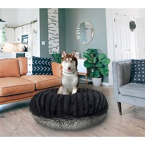 Bessie + Barnie Bagel Bolster Dog Bed w/Removable Cover, Grey/Black, X-Large; The Bessie And Barnie Bagel Dog Bed will turn any area of your home into your dog's new favorite nap spot. Made from luxurious and plush fabrics, your dog will feel like royalty every time he curls up to catch some Z's.  And with plenty of size and color options to choose from, you can be sure to find the right look for your home décor. Handmade by skilled artisans in the USA, this high-quality bed is both stylish and durable. It also features a waterproof pillow liner and machine washable covers. Plus, the 360-degree zipper design makes it super easy to remove the cover when it's cleaning time. Pamper your pupper today with the Bessie And Barnie Bagel Dog Bed.