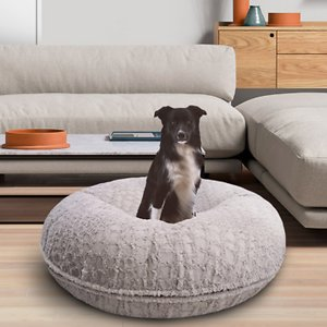 Bessie + Barnie Bagel Bolster Dog Bed w/Removable Cover, Serenity Grey, X-Small; The Bessie And Barnie Bagel Dog Bed will turn any area of your home into your dog's new favorite nap spot. Made from luxurious and plush fabrics, your dog will feel like royalty every time he curls up to catch some Z's.  And with plenty of size and color options to choose from, you can be sure to find the right look for your home décor. Handmade by skilled artisans in the USA, this high-quality bed is both stylish and durable. It also features a waterproof pillow liner and machine washable covers. Plus, the 360-degree zipper design makes it super easy to remove the cover when it's cleaning time. Pamper your pupper today with the Bessie And Barnie Bagel Dog Bed.