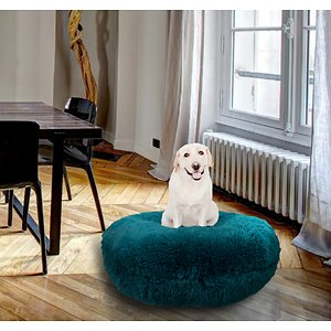 Bessie + Barnie Bagel Bolster Dog Bed w/Removable Cover, Teal, Large; The Bessie And Barnie Bagel Dog Bed will turn any area of your home into your dog's new favorite nap spot. Made from luxurious and plush fabrics, your dog will feel like royalty every time he curls up to catch some Z's.  And with plenty of size and color options to choose from, you can be sure to find the right look for your home décor. Handmade by skilled artisans in the USA, this high-quality bed is both stylish and durable. It also features a waterproof pillow liner and machine washable covers. Plus, the 360-degree zipper design makes it super easy to remove the cover when it's cleaning time. Pamper your pupper today with the Bessie And Barnie Bagel Dog Bed.