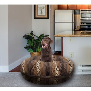 Bessie + Barnie Bagel Bolster Dog Bed w/Removable Cover, Wild Kingdom, Medium; The Bessie And Barnie Bagel Dog Bed will turn any area of your home into your dog's new favorite nap spot. Made from luxurious and plush fabrics, your dog will feel like royalty every time he curls up to catch some Z's.  And with plenty of size and color options to choose from, you can be sure to find the right look for your home décor. Handmade by skilled artisans in the USA, this high-quality bed is both stylish and durable. It also features a waterproof pillow liner and machine washable covers. Plus, the 360-degree zipper design makes it super easy to remove the cover when it's cleaning time. Pamper your pupper today with the Bessie And Barnie Bagel Dog Bed.