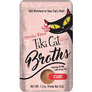 Tiki Cat Broths Beef in Broth with Meaty Bits Grain-Free Wet Cat Food Topper, 1.3-oz pouch, case of 12