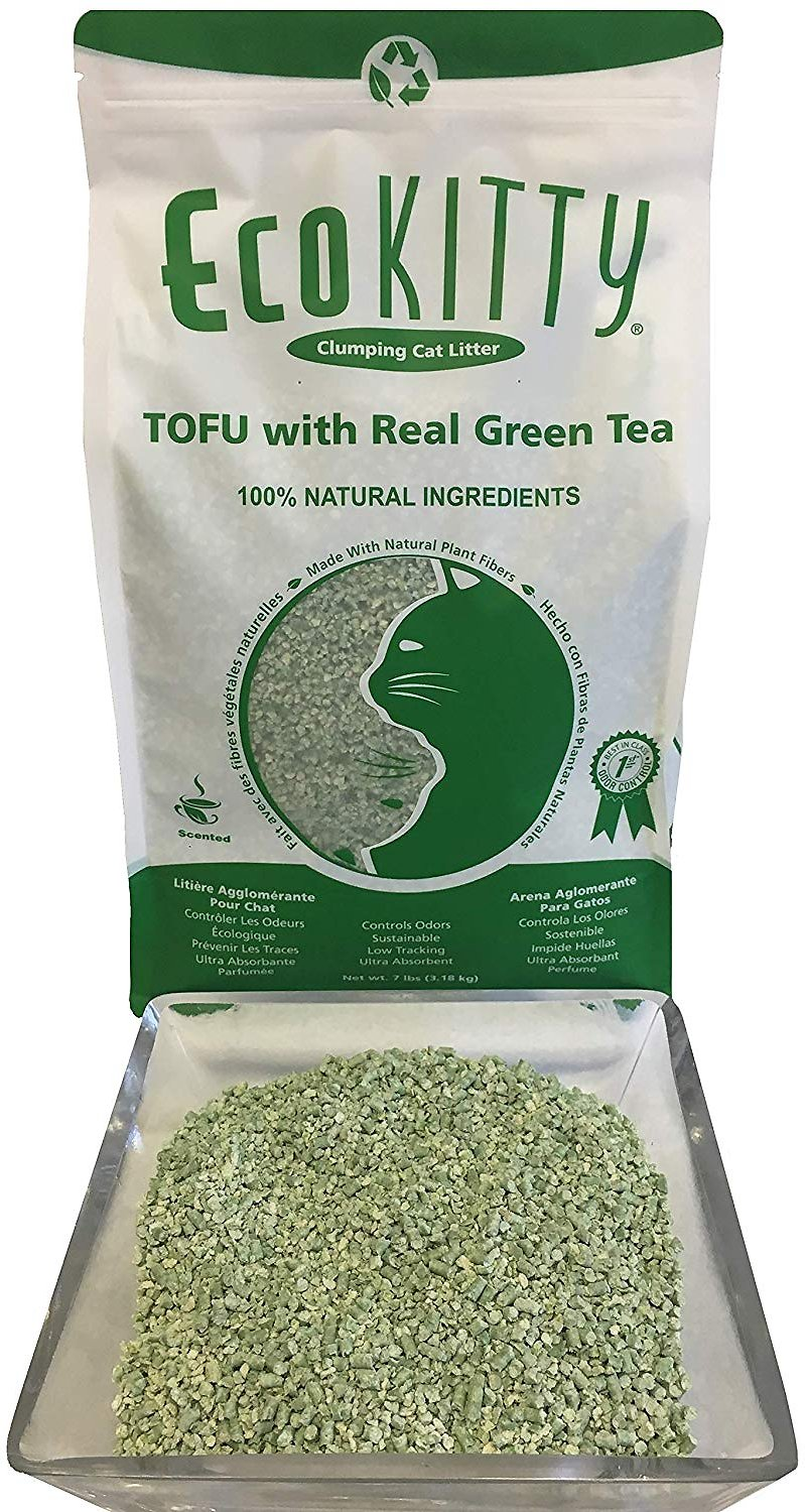 Ecokitty Real Tofu Natural Green Tea Scented Clumping Tofu Cat Litter 7 Lb Bag Chewy Com