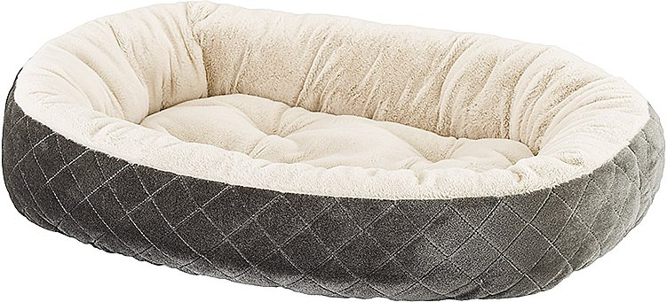 Ethical Pet Sleep Zone Quilted Oval Cuddler Bolster Dog Bed Gray 26 In Chewy Com