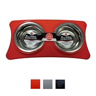 Ethical Pet New Wave Double Diner Dog & Cat Bowls, Red, .5-pt