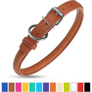 CollarDirect Rolled Leather Dog Collar, Brown, Medium: 12 to 14-in neck, 1/2-in wide
