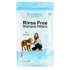 Scrubby Instant Bath Rinse Free Dog Shampoo Mittens, 5 count