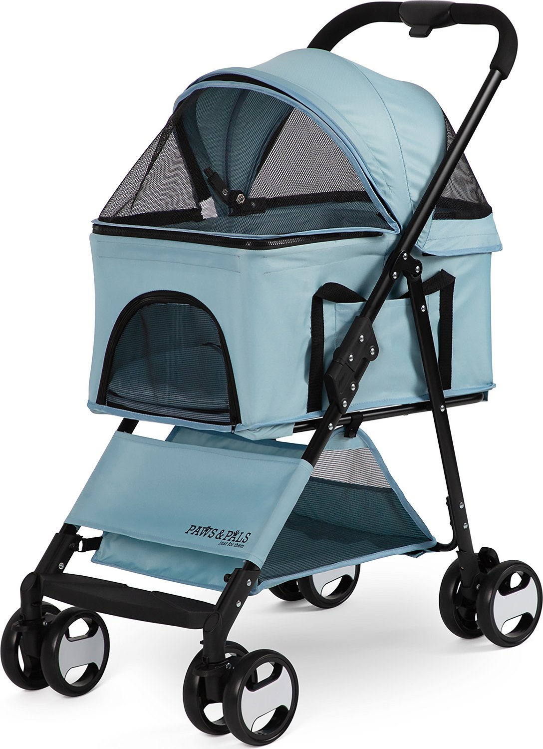 Paws Pals 2 In 1 Detachable Dog Cat Stroller Carrier Blue Chewy Com
