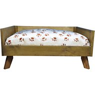 Iconic Pet Sassy Paws Raised Wooden Sofa Cat & Dog Bed w/Removable Cover