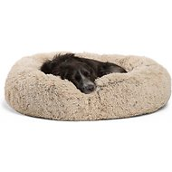 Best Friends by Sheri Shag Donut Orthopedic Dog & Cat Bed, Taupe, Medium