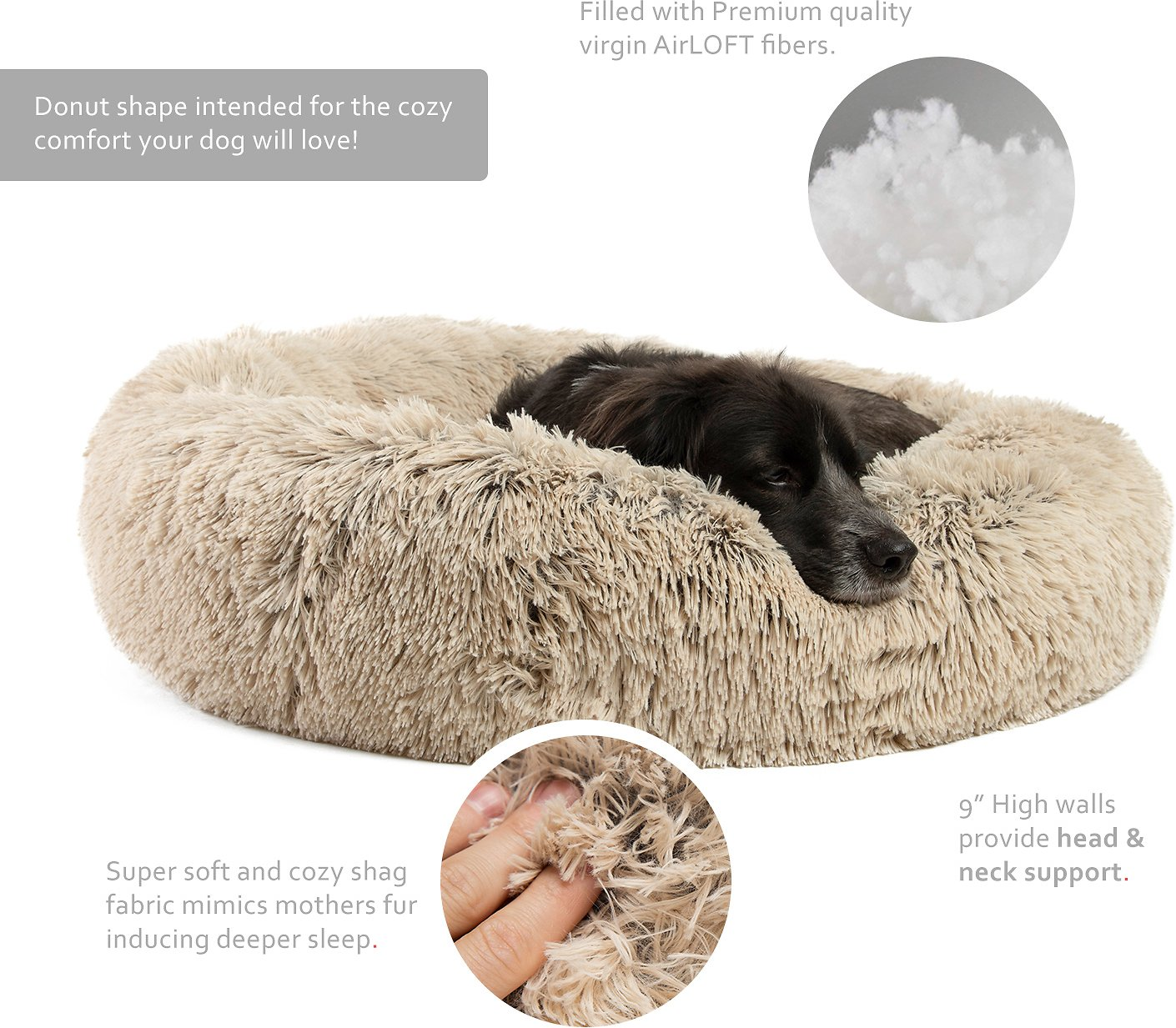 Dog Cat Round Donut Luxury Cushion Bed Self-Warming Cozy Joint-Relief and Improved Sleep-23.7 * 23.7 inches Cream Color Deep Sleeping Luxury Shag Fuax Fur Donut Cuddler Soft Pet Bed