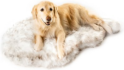 PawBrands PupRug Faux Fur Curve Orthopedic Pillow Dog Bed w/Removable Cover, White, Large/X-Large