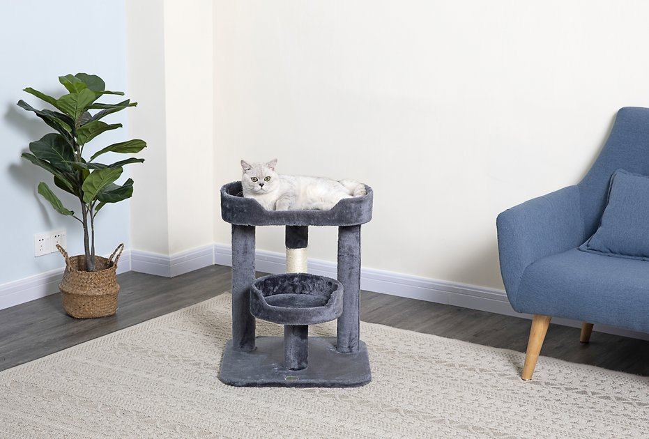 Go Pet Club 23 In Faux Fur Cat Tree Gray Chewy Com