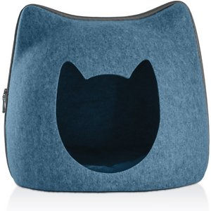 FurHaven Kitty-Shaped Felt Cubby Cat Bed, Heather Lagoon; Give your feline friend a cozy and quiet retreat of her own with the FurHaven Kitty-Shaped Felt Cubby Cat Bed. Your girl will love to be cuddled up in the incredibly soft yet durable felt bed that features thick insulated fabric for ideal warmth and sound absorption. The non-shedding material is easy to clean and lightweight enough for traveling and on-the-go use. Feel free to remove the hood to give your best bud a better view of her surroundings!