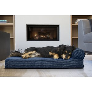 FurHaven Chaise Lounge Orthopedic Cat & Dog Bed w/Removable Cover, Navy Blue, Medium; After a long day of playing, exploring and adventuring, your furry friend will love to relax in her FurHaven Faux Fleece & Corduroy Chaise Lounge Orthopedic Dog & Cat Bed. This luxuriously soft bed is paw-fect for your cat or dog at any age! An orthopedic base helps support your best bud's joints as the faux-fleece sleeping surface and calming corduroy gusset provide incredible comfort. The bolstered end allows your pet to rest her head and neck as she drifts peacefully off into dreamland. Simply remove the washable cover when you feel like the bed could use a refresh.
