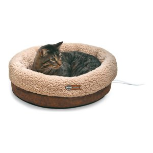 K&H Pet Products Thermo-Snuggle Cup Bomber Heated Dog & Cat Bed, Chocolate