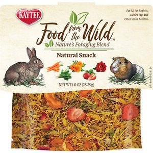 Kaytee Food From the Wild Natural Snack Rabbit Treats, 1-oz bag; Reward your furry friend with a natural snack with Kaytee Food From the Wild Natural Snack Rabbit Treats. They are made with a limited amount of whole ingredients including carrot, marigold, rose petal, spinach and strawberry. These treats are designed to provide your bunny buddy with a variety that she might not be getting with her regular diet. Kaytee Food From the Wild Natural Snack Treats are ideal for rabbits, guinea pigs and other small animals.