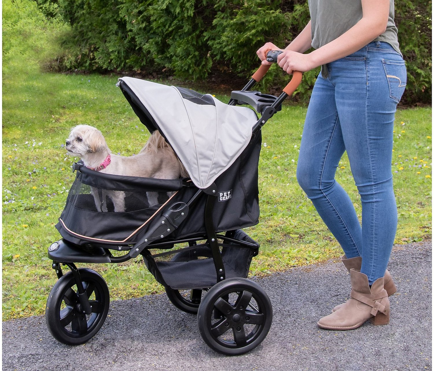 Pet Gear AT3 No-Zip Pet Stroller, Summit Grey - Chewy.com