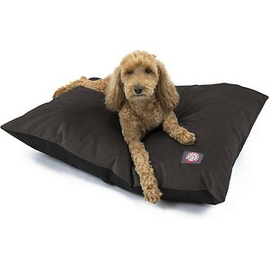 Majestic Pet Velvet Econo Pillow Dog Bed, Coal, Large; The Majestic Pet Velvet Dog Bed invites your dog to curl up and stay awhile. Proving that supreme comfort and quality doesn't have to break the bank, this value-driven dog bed offers all the perks without the frills. Featuring a medium-support cushion stuffed with fiberfill, the outer layer is made with plush velvet that is both comfortable and durable. And since your pet will probably want to spend a lot of time lounging on it, you can easily throw it in the wash to get rid of excess hair and doggie smells when it's time to freshen up.