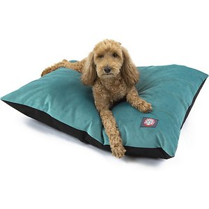 Majestic Pet Velvet Econo Pillow Dog Bed, Turquoise, Medium; The Majestic Pet Velvet Dog Bed invites your dog to curl up and stay awhile. Proving that supreme comfort and quality doesn't have to break the bank, this value-driven dog bed offers all the perks without the frills. Featuring a medium-support cushion stuffed with fiberfill, the outer layer is made with plush velvet that is both comfortable and durable. And since your pet will probably want to spend a lot of time lounging on it, you can easily throw it in the wash to get rid of excess hair and doggie smells when it's time to freshen up.