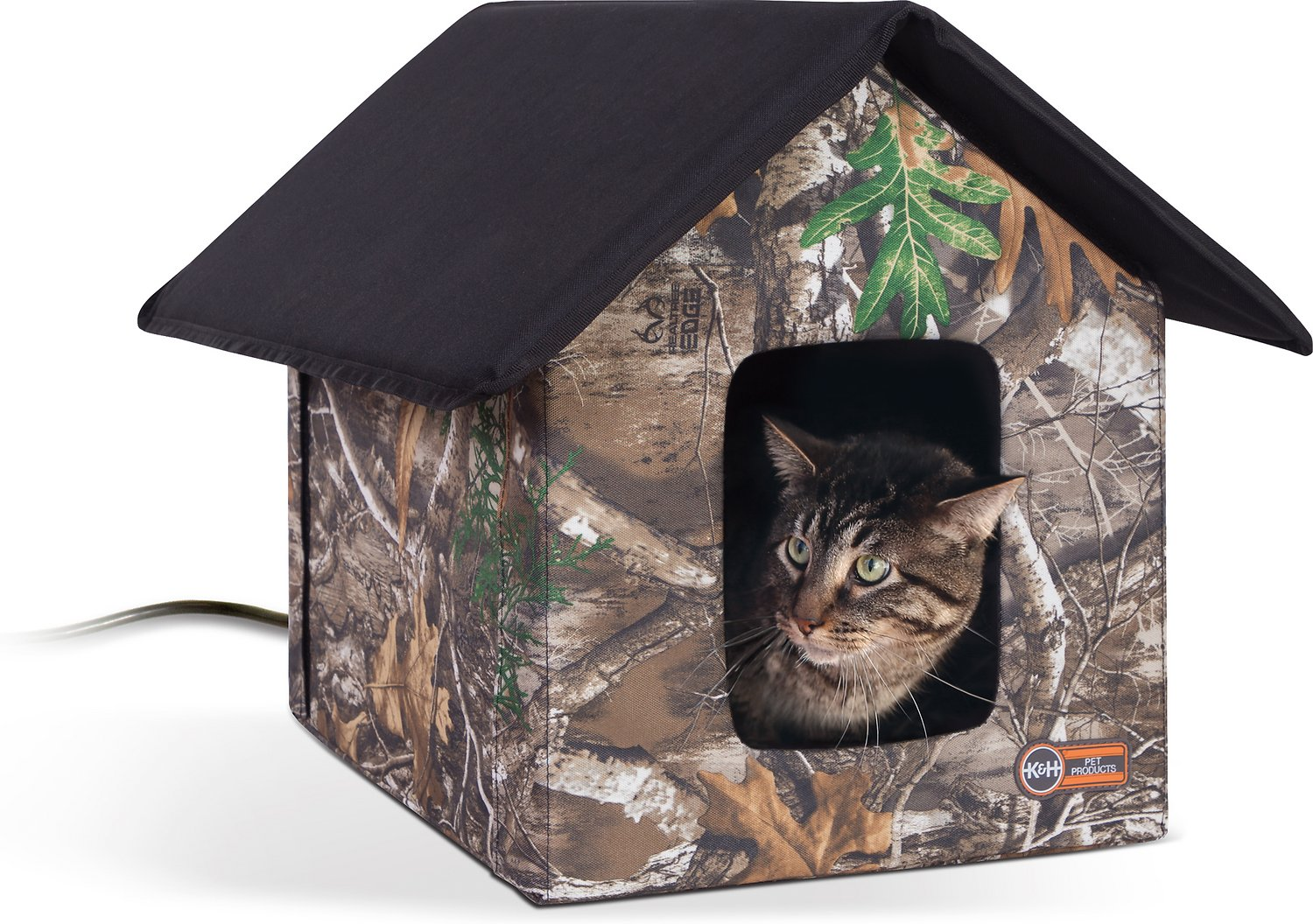 K H Pet Products Outdoor Heated Kitty House Camo Chewy Com