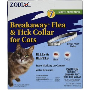 Zodiac Breakaway Flea & Tick Cat Collar, 13-in; Keep biting pests from ticking your kitty off with Zodiac Breakaway Flea & Tick Cat Collar. This collar kills and repels fleas and ticks for up to 7 months to keep your feline feeling fine and happily itch-free. It has a breakaway safety feature that releases quickly if it ever gets caught and a water-resistant design that makes it perfect for outdoor use. Break away from lesser flea collars and try this long-lasting solution instead!