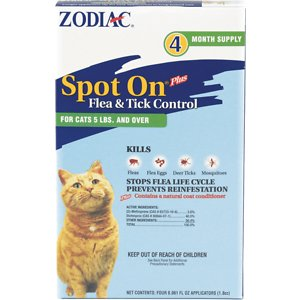 Zodiac Spot On Plus Flea & Tick Control Cat & Kitten Treatment, 4 treatments, over 5-lbs; Put flea and tick problems to rest with the Zodiac Spot On Plus Flea & Tick Control Cat & Kitten Treatment. Just a few drops of this treatment on the back of the neck kills fleas and ticks for a whole month and disrupts the development of flea eggs to prevent re-infestation. Ideal for stopping current infestations or as a preventative on outdoor or indoor cats, this long-lasting treatment will eliminate the need for flea baths, sprays and other remedies your cat detests. Get your kitty flea-free and feelin' fancy in no time with this hassle-free solution!
