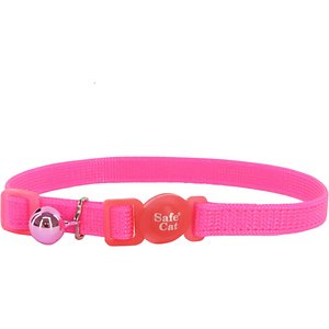 Safe Cat Snag-Proof Polyester Breakaway Cat Collar with Bell, Neon Pink, 8 to 12-in neck, 3/8-in wide; The Safe Cat Adjustable Snag-Proof Breakaway Cat Collar helps keep your feline friend safe through every pounce and purr. Snag-proof nylon is the paw-fect material to stand up to your playful kitty while the responsive breakaway buckle is instantly released in case your girl gets entangled. The adjustable length allows you to find the ideal comfortable fit and eye-catching colors keep her looking as cute as ever!