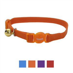 Safe Cat Adjustable Snag-Proof Breakaway Cat Collar, Sunset Orange; The Safe Cat Adjustable Snag-Proof Breakaway Cat Collar helps keep your feline friend safe through every pounce and purr. Snag-proof nylon is the paw-fect material to stand up to your playful kitty while the responsive breakaway buckle is instantly released in case your girl gets entangled. The adjustable length allows you to find the ideal comfortable fit and eye-catching colors keep her looking as cute as ever!