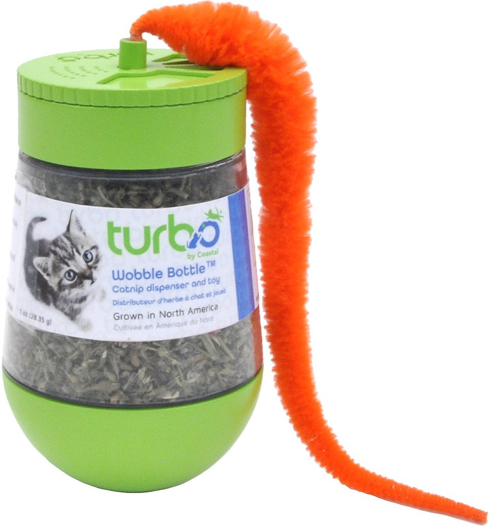 Turbo by Coastal Compressed Ball Catnip Toy with a Tail