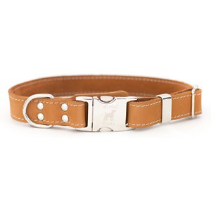 Euro-Dog Quick Release Leather Dog Collar, Tan, Medium: 12 to 18-in neck