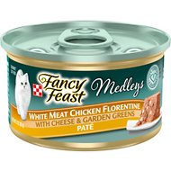 Fancy Feast Medleys White Meat Chicken Florentine with Cheese & Garden Greens Pate Canned Cat Food, 3-oz, case of 24