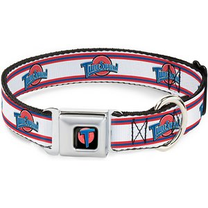 Buckle-Down Space Jam Tune Squad Polyester Seatbelt Buckle Dog Collar, Small: 9 to 15-in neck, 1-in wide; Your pooch will be the bark of the town—or basketball court—when he wears this paw-some and officially licensed Space Jam Tune Squad Dog Collar from Buckle-Down. Made from high-density polyester with a strong stainless-steel clasp, this cool collar is built to last. The unique seatbelt-style buckle is easy to use too—simply press the center button to release the clasp. It's a head-turning slam dunk for Space Jam fans!