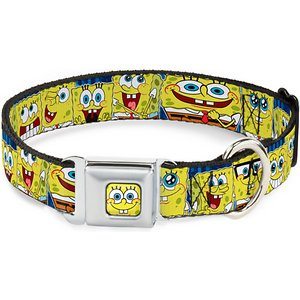 Buckle-Down SpongeBob Polyester Seatbelt Buckle Dog Collar, Wide Large: 18 to 32-in neck, 1.5-in wide; Your canine companion is sure to make a splash when she wears this officially licensed Sponge Bob Dog Collar from Buckle-Down. Made from high-density polyester with a durable stainless-steel clasp, this colorful collar is built to last. The unique miniature seat-belt style buckle is easy to use too—simply press the center button to release the clasp.