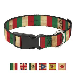 Buckle-Down Country Plastic Clip Polyester Dog Collar, Medium: 11 to 17-in neck, 1-in wide; Your patriotic pooch can proudly support his homeland with the Country Plastic Clip Dog Collar from Buckle-Down. This paw-some polyester dog collar features a super-sturdy plastic buckle so it's a snap to put on and take off. The strong D-ring makes for easy, safe tag and leash attachment. It's durable enough to hold up to whatever your loyal doggo dishes out.