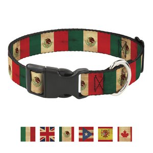 Buckle-Down Country Plastic Clip Polyester Dog Collar, Large: 15 to 26-in neck, 1-in wide; Your patriotic pooch can proudly support his homeland with the Country Plastic Clip Dog Collar from Buckle-Down. This paw-some polyester dog collar features a super-sturdy plastic buckle so it's a snap to put on and take off. The strong D-ring makes for easy, safe tag and leash attachment. It's durable enough to hold up to whatever your loyal doggo dishes out.
