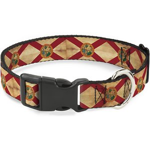 Buckle-Down State Plastic Clip Polyester Dog Collar, Medium: 11 to 17-in neck, 1-in wide; Let your loyal pup show off his home-state pride with the State Plastic Clip Dog Collar from Buckle-Down. This paw-some polyester dog collar features a super-sturdy plastic buckle so it's a snap to put on and take off. The strong D-ring is a secure spot to attach a leash and tag. It's durable enough for whatever your doggo dishes out. Go State!