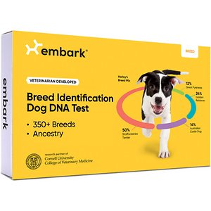 Embark Breed & Ancestry Dog DNA Test Kit; Learn all there is to know about your furry friend with the Embark Breed & Ancestry Dog DNA Test Kit. This kit reveals your pup's breed, ancestry, relatives and more with a simple cheek swab. It analyzes over 200K genetic markers and screens for over 250 breeds to tell you the makeup of your paw-tner. This kit also helps identify your companion's family tree and reveals his ancestry all the way back to his great-grandparents so you can connect with his relatives. Results for Embark Breed & Ancestry Dog DNA Test Kit are usually delivered in 2-4 weeks.