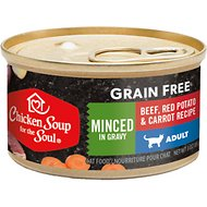 Chicken Soup for the Soul Minced Beef, Red Potato & Carrot Recipe Minced in Gravy Grain-Free Canned Cat Food, 3-oz, case of 24