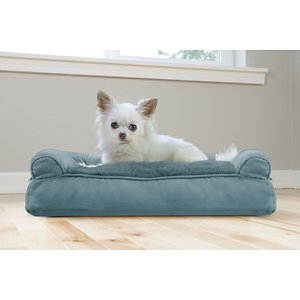 FurHaven Plush & Suede Bolster Dog Bed w/Removable Cover, Deep Pool, Small; Designed to give your four-legged family member maximum comfort for a refreshing night's rest, the FurHaven Plush & Suede Pillow Sofa Dog Bed is perfect for pets of all ages and will leave your fur baby feeling snugger than ever before. With an ultra-plush faux fur sleeping surface and cushioned bolsters on three sides, this cushy fiber-filled pillow bed allows your furry friend to sleep in any position they choose while cradling them with a sense of warmth and security. And with this comfy sofa bed, your pup or kitty can claim their own slumber zone in the house or you can place it on the couch next to you for sharing space with your pet without having to worry about fur or dander ending up on your furniture.