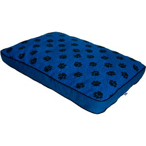 MyPillow Pillow Dog Bed, Blue, Large; Your canine companion is going to love snuggling up on the MyPillow Dog Bed! Made in the USA with MyPillow's very own patented interlocking fill, this cozy bed helps keep your pet cool and comfortable. The cover is designed with paw prints on one side and plaid on the other, and best of all, it's completely removable and machine-washable for hassle-free cleaning! And it's completely resistant to moisture, mildew and odor, which will certainly keep your nose happy.
