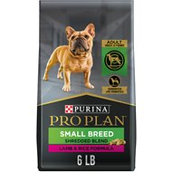 Purina Pro Plan Small Breed Adult Shredded Blend Lamb & Rice Formula Dry Dog Food, 6-lb bag