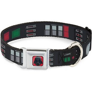 Buckle-Down Star Wars Darth Vader Utility Belt Polyester Seatbelt Buckle Dog Collar, Large: 15 to 26-in neck, 1-in wide