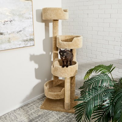 Frisco 65 In Real Carpet Wooden Cat Tree Beige Chewy Com