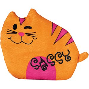 KONG Refillables Purrsonality Sassy Cat Toy; Honor your cat's true purr-sonality with the KONG Refillables Purrsonality Sassy Cat Toy. If your cat's known for her sassy, strong opinions, this toy will be the purr-fect fit for your cat and her cat-itude. The cuddly kitten plush is ready for playtime. With an easy-open pouch, you can fill and refill this toy with catnip to keep your kitty's interest piqued. Premium catnip is included to help you get started, and crinkle sounds add to the playtime excitement and help to keep your sassy cat highly engaged.